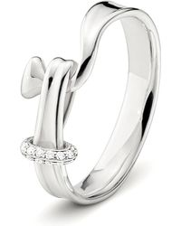 Georg Jensen | Metallic Torun Sterling Silver And Diamond Ring | Lyst