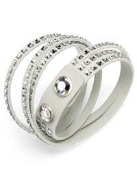 Swarovski - White Suede Crystal Wrap Bracelet - Lyst