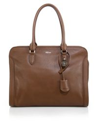 Alexander McQueen - Brown Padlock Large Zip Satchel - Lyst