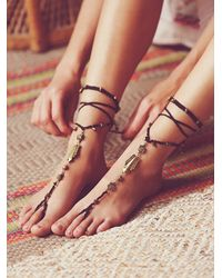 Free People | Black Macrame Anklet Duo | Lyst