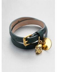 Alexander McQueen - Green Leather Skull Wrap Bracelet - Lyst