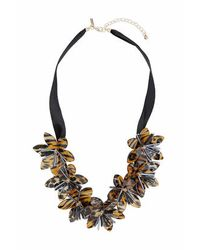TOPSHOP | Brown Flower Collar Necklace | Lyst