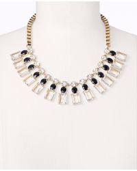 Ann Taylor   Metallic Rectangle Stone Statement Necklace   Lyst