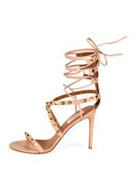 Valentino - Natural Rockstud Crisscross Ankle-wrap Sandal - Lyst