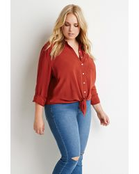 Forever 21 - Orange Plus Size Self-tie Front Shirt - Lyst