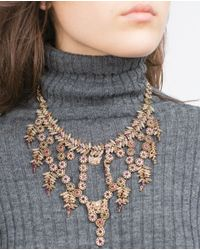 Zara | Metallic Jewel Necklace | Lyst
