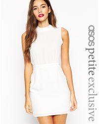ASOS - White Petite Sleeveless Mini Dress With High Neck - Lyst