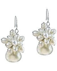 Aeravida | Metallic Floral Star Ray Freshwater White Pearl Earrings | Lyst