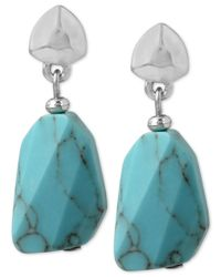 Kenneth Cole | Metallic New York Silver-tone Stone Drop Earrings | Lyst