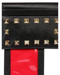 Valentino | Black Rockstud Leather Card Holder | Lyst