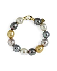 Majorica - Metallic 14mm Baroque Pearl Single Row Bracelet - Lyst
