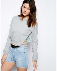 Cheap Monday - Gray Cut Out Waist Sweatshirt - Lyst