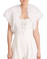 Ramy Brook | White Fiona Cropped Fur Shawl | Lyst