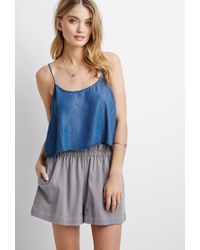 Forever 21 | Gray Ruffled High-waisted Shorts | Lyst