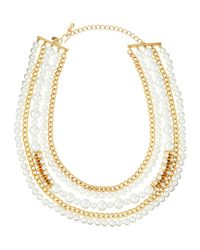 Kenneth Jay Lane | Metallic Multi-row Pearly Bead & Rhinestone Chain Necklace | Lyst