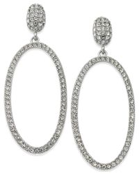 INC International Concepts | Metallic Silver-tone Large Oval Pavé Drop Earrings | Lyst