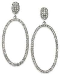 INC International Concepts - Metallic Silver-tone Large Oval Pavé Drop Earrings - Lyst