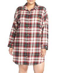 Lauren by Ralph Lauren - Red Brushed Plaid Sleep Shirt - Lyst