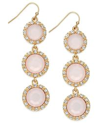 INC International Concepts - Gold-tone Pink Pavé Triple Stone Linear Earrings - Lyst