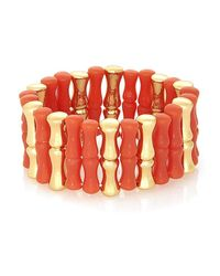 Rose Pierre - Orange Bamboo On The Beach Stretch Bracelet - Lyst