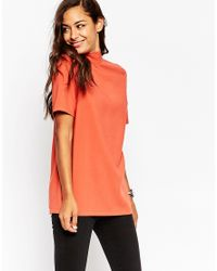 ASOS | Pink High Neck Tunic With Open Back | Lyst