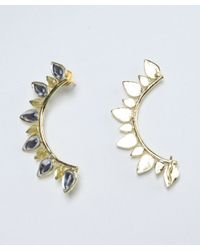 Chamak by Priya Kakkar | Yellow And Clear Crystal 'vira' Teardrop Earcuffs | Lyst