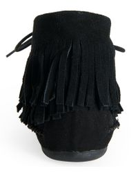 Aéropostale | Black Faux Suede Fringed Moccasin Bootie | Lyst