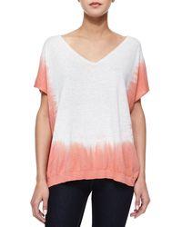Splendid - Orange Short-Sleeve Dip-Dye Tunic - Lyst