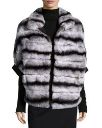 Gorski - Gray Rabbit Fur Zip-Front Jacket - Lyst