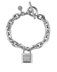 Michael Kors | Metallic Silvertone Chain Link Padlock Bracelet | Lyst