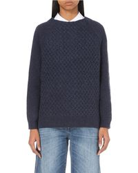 Closed | Blue Diamond-knit Wool Jumper | Lyst