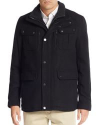 Michael Kors | Black Burl Knit Collar Wool-blend Coat for Men | Lyst