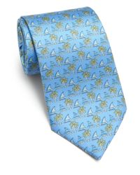 Ferragamo - Blue Sailboat Silk Tie for Men - Lyst