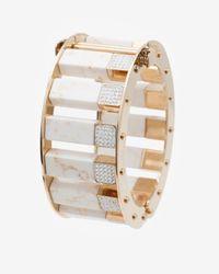Lele Sadoughi - White Pave Stone Column Slider Bracelet - Lyst