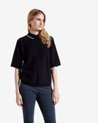 Ted Baker | Black Curved Hem Collared Jumper | Lyst