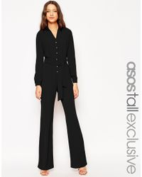 ASOS | Black Tall Button Through Jumpsuit | Lyst