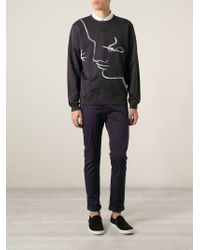 Façonnable - Blue Brush Stroke Print Sweatshirt for Men - Lyst