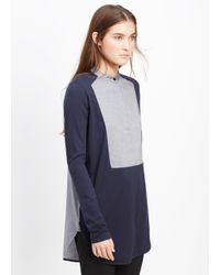 Vince | Gray Mixed Media Tuxedo Inset Long Sleeve Top | Lyst
