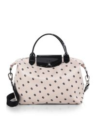 Longchamp - Black Le Pliage Neo Polkadot Medium Satchel - Lyst