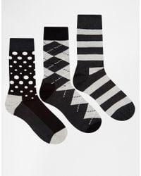 Happy Socks - Black Hs By In 3 Pack for Men - Lyst