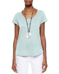 Eileen Fisher - Green Slubby Short-sleeve Scoop-neck Tee - Lyst