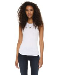 Free People - White High Neck Muscle Tank - Lyst