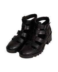 TOPSHOP | Black Beetle Multi Strap Boots | Lyst