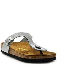 Birkenstock - Gizeh - Silver Metallic Leather Thong - Lyst