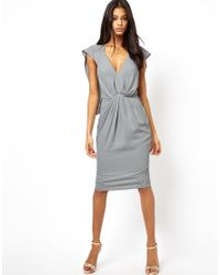 ASOS | Gray Batwing Pleated Cape Dress | Lyst