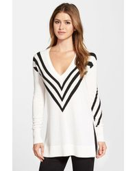 Halogen | White Side Slit V-neck Tunic Sweater | Lyst