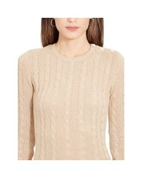 Ralph Lauren - Natural Cable-knit Sweater Dress - Lyst