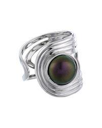 Majorica - Metallic 10mm Cuff Ring - Lyst