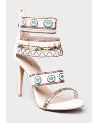 Bebe | White Lolana Beaded Sandals | Lyst