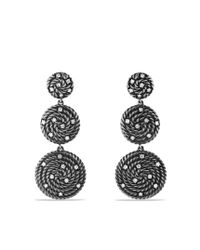 David Yurman | Metallic Cable Coil Drop Earrings with Diamonds | Lyst